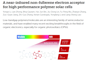 A near-infrared non-fullerene electron acceptor for high  performance polymer solar cells 《Energy& Environmental Science》