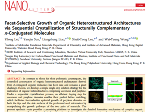 Facet-Selective Growth of Organic Heterostructured Architectures via Sequential Crystallization of Structurally Complementary π-Conjugated Molecules 《Nano Letters》